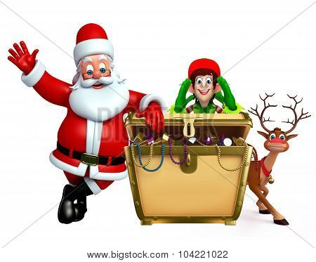 Cartoon Santa Claus And Elves With Treasury Box