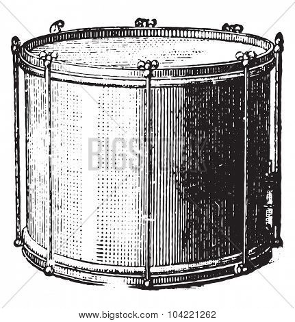 Snare drum rods, vintage engraved illustration. Industrial encyclopedia E.-O. Lami - 1875.