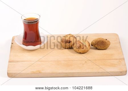 Turkish Tea and cookies with white background