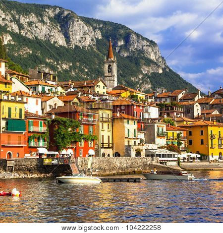 scenic Lago di Como - Varenna village, north of Italy