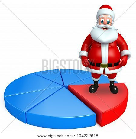 Cartoon Santa Claus With Business Graph