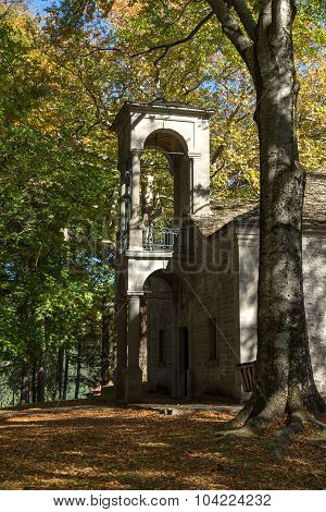 Church and Park in Town of Metsovo, Epirus