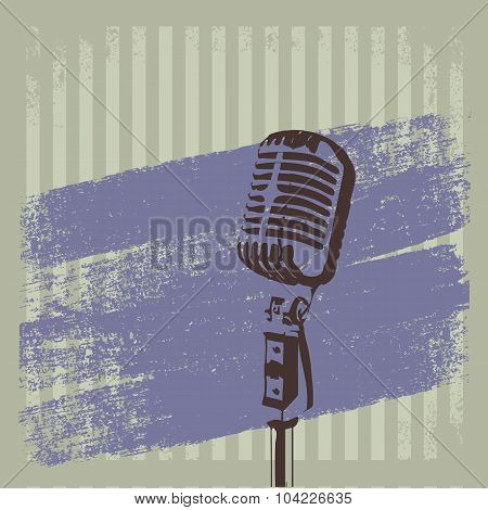 Retro Microphone Brush Striped  Background