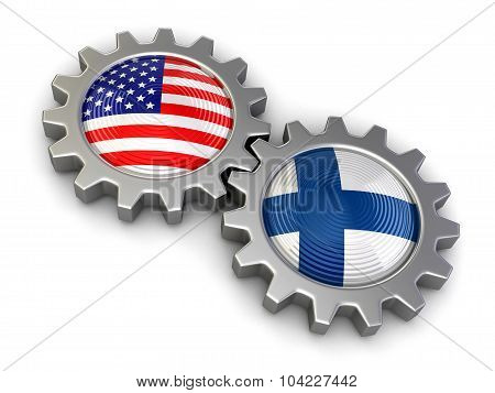 USA and Finnish flags on a gears (clipping path included)