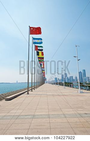 Rise Of China Flag As Leader In Qingdao