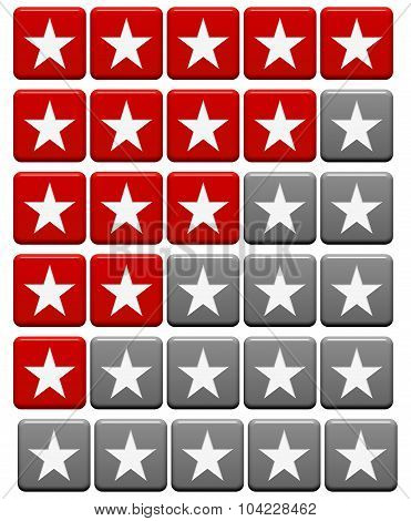 Rating System Buttons Red Gray