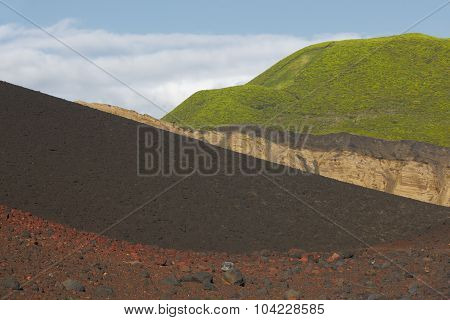 Azores Multicolored Volcanic Landscape In Faial Island. Ponta Dos Capelinhos