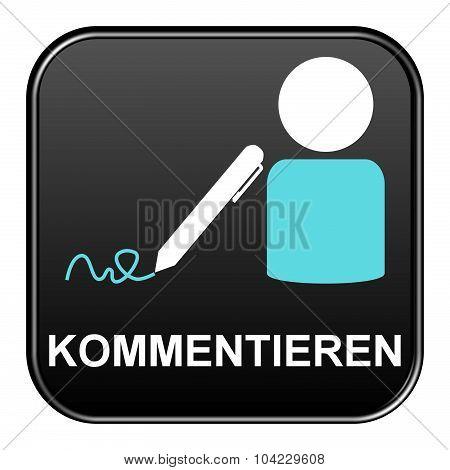 Black Button Showing Comment German