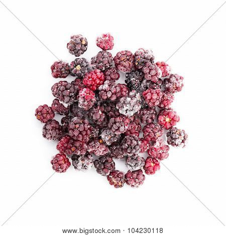 Frozen Dewberries Isolared On White Background