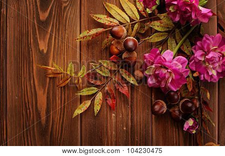 colorful leaves and flowers on wooden background