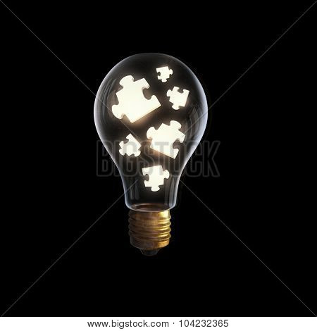 Glass light bulb with puzzle elements inside