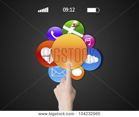 Woman Hand Index Finger Touching Colorful Apps