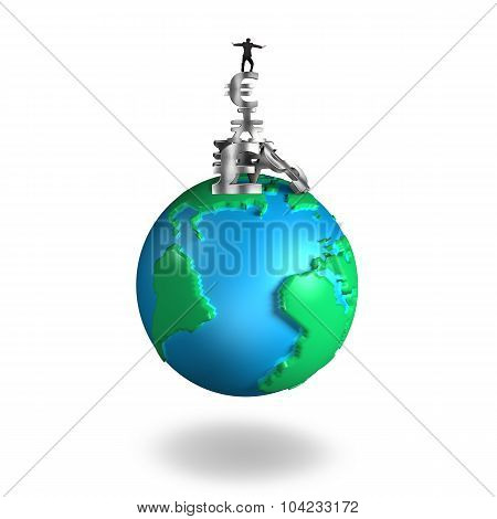 Businessman Balancing Stack Money Symbols On 3D Globe World Map