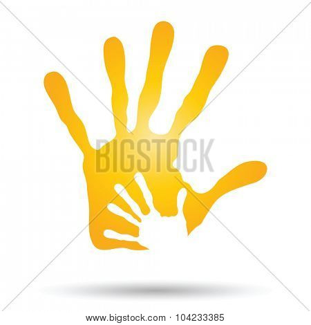 Concept human or mother and child hand prints painted, isolated on white background