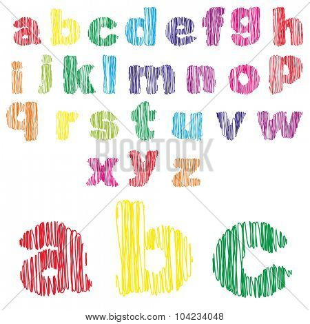Concept or conceptual set or collection of colorful handwritten, sketch or scribble fonts isolated on white background