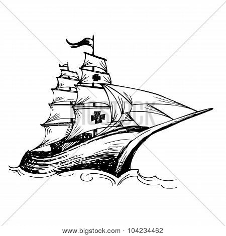 Columbus Ship Hand Drawn