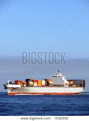 Container Ship Sailing at Sea