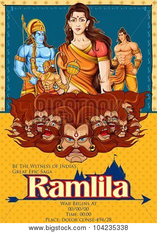 illustration of Lord Rama, Sita, Laxmana, Hanuman and Ravana in Ramlila, epic play poster