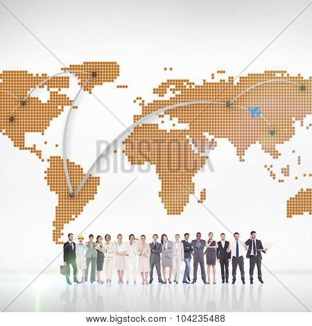 Multiethnic business people standing side by side against world map with lines