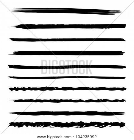 Large collection or set of artistic black paint hand made creative brush strokes isolated on white background