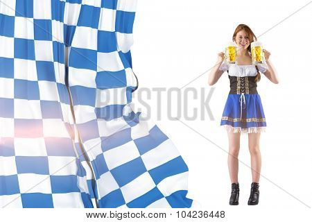 Oktoberfest girl holding jugs of beer against blue and white flag
