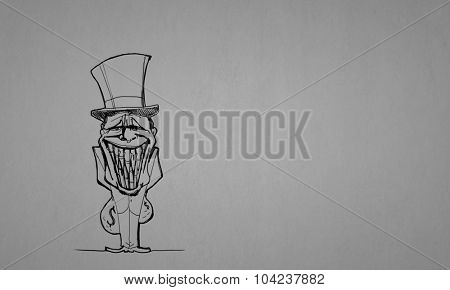 Caricature of funny banker man on gray background
