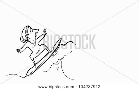 Caricature of woman on surfing board on white background