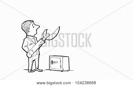 Caricature of funny businessman opening safe with knife