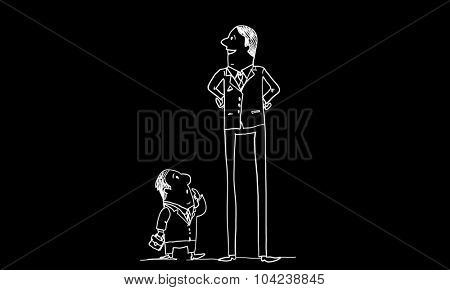 Caricature of funny businessmen on black background