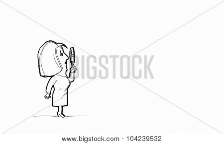 Caricature of woman with magnifier in hands on white background