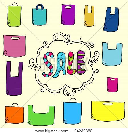 Sale Background With Doodle Plastic Bags