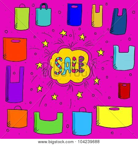 Sale Background With Doodle Plastic Bags-1