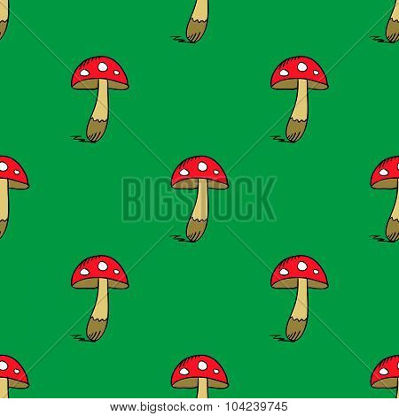 Seamless Pattern With Amanita Colorfull