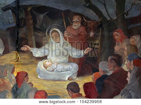 ZAGREB, CROATIA - NOVEMBER 21: Birth of Jesus, altarpiece in parish church of Saint Mark in Zagreb, Croatia on November 21, 2014