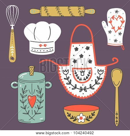 Colorful collection of baking items. Cute Vector illustration.
