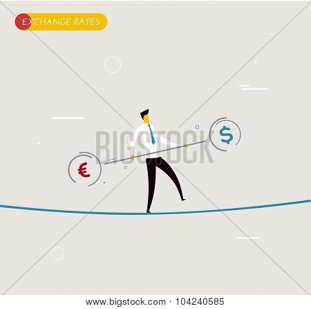 Businessman walking on tightrope balancing.