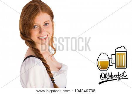 Oktoberfest girl smiling at camera against oktoberfest graphics