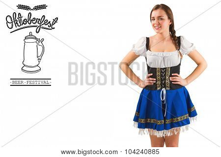 Pretty oktoberfest girl with hands on hips against oktoberfest graphics