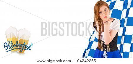 Oktoberfest girl blowing a kiss against oktoberfest graphics