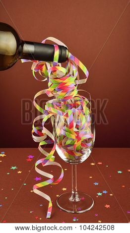 A Bottle Of Wine In Festive Decoration