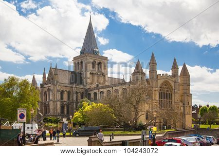 ROCHESTER, UK - MAY 16, 2015: Rochester Cathedral is England's second oldest, having been founded in