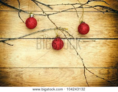 Red baubles - bauble on wooden background
