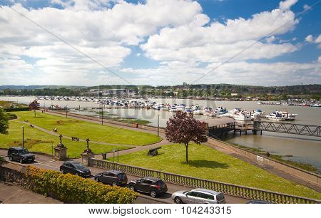 ROCHESTER, UK - MAY 16, 2015: Landscape around of Rochester city include river Kent and yacht club w