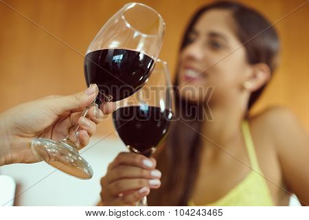 Women Celebrating At Home Doing Toast With Red Wine