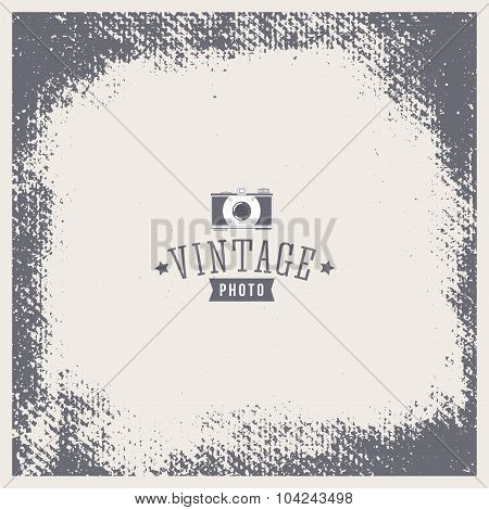 Grunge vector vintage texture. Photo frame with hipster logo