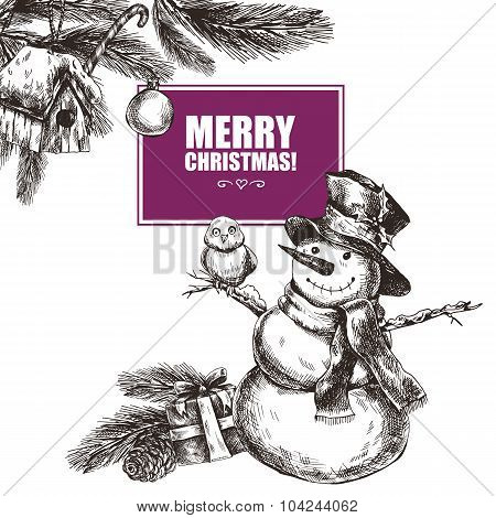 Winter hand drawn greeting card with Christmas elements