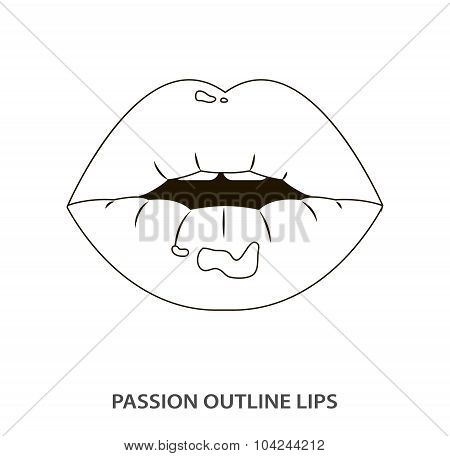 Outline sexy passion lips, lipstick, erotic open mouth