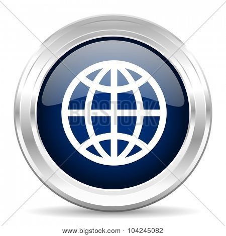 earth cirle glossy dark blue web icon on white background