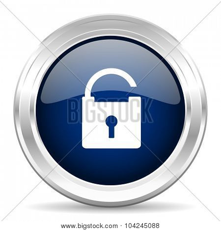 padlock cirle glossy dark blue web icon on white background