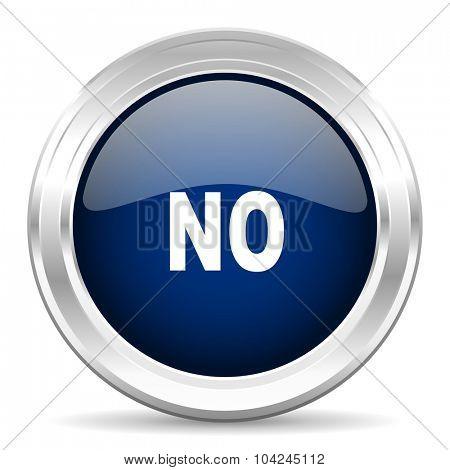 no cirle glossy dark blue web icon on white background
